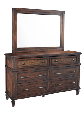 Progressive Furniture B130-23/50 Coronado Transitional Drawer Dresser & Mirror Sable