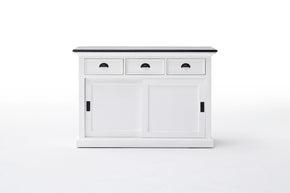 Halifax French Countryside Contrast Buffet w/ sliding doors White-Black Top