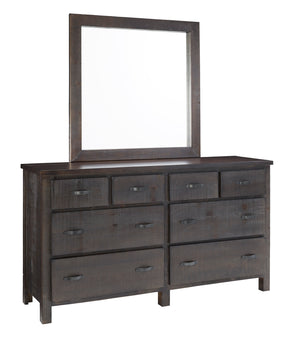Progressive Furniture B645-23/50 Brickyard Transitional Drawer Dresser & Mirror Scorched Pine