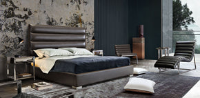 Diamond Sofa BARDOTEKBEDEG Bardot Channel Tufted Eastern King Bed in Elephant Grey Leatherette