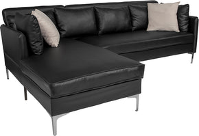 Flash Furniture BT-8377-SET-BK-GG Back Bay Upholstered Accent Pillow Back Sectional with Left Side Facing Chaise in Black Leather 889142892410