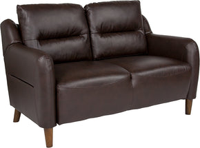 Flash Furniture BT-S8372A-LV-BRN-GG Newton Hill Upholstered Bustle Back Loveseat in Brown Leather 889142894674