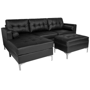Flash Furniture BT-S8376-SFCHSEOT-BK-GG Riverside Upholstered Tufted Back Sectional with Left Side Facing Chaise, Bolster Pillows and Ottoman Set in Black Leather 889142892243