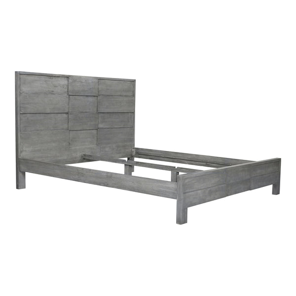 Felix Contemporary Solid Wood King Bed Cool Grey