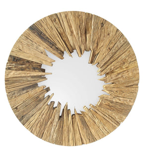 Wooden Sunburst Mirror Recycled Wood Glass | Modern Mirror by Moes Home Collection at Contemporary Modern Furniture  Warehouse