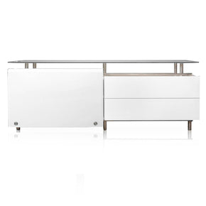 Star International Furniture E.555-BU3.WHG/SWHT Bellini Medium Buffet White High Gloss, 12MM Tempered Super White Glass, Stainless Steel