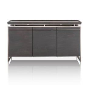 Star International Furniture 2455-BU.BWO Benson Buffet Black Wash Oak, Black Stainless Steel