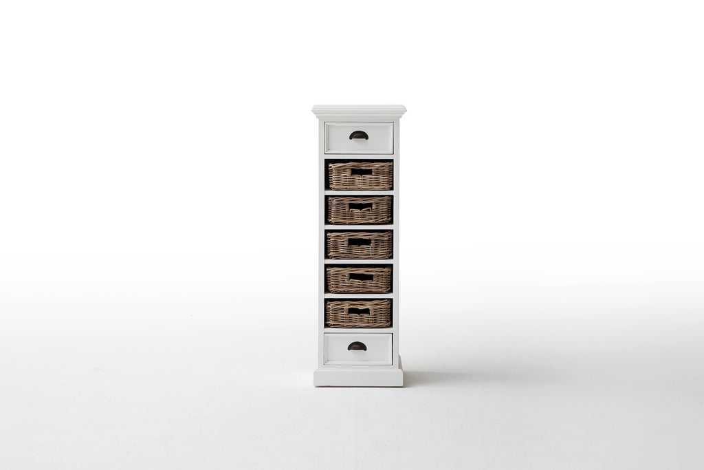 Halifax French Countryside Storage Tower With Basket Set White Semi Gloss  ...