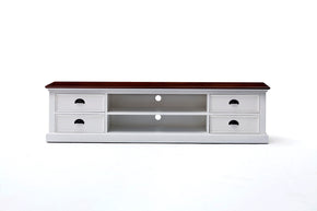 Entertainment Stands - Nova Solo CA631TWD Halifax Accent TV unit w/ 4 drawers White w/ Brown wood veneer top | 8994921002095 | Only $669.00. Buy today at http://www.contemporaryfurniturewarehouse.com