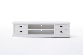 Halifax French Countryside Large Entertainment Unit with 4 drawers White Semi-gloss
