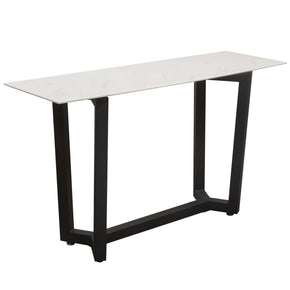 Diamond Sofa CAPLANCSMA Caplan Rectangular Console Table with Ceramic Marble Glass Top and Black Powder Coat Base