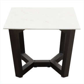 Diamond Sofa CAPLANETMA Caplan Square End Table with Ceramic Marble Glass Top and Black Powder Coat Base