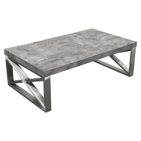 Diamond Sofa CARRERACTMA2 Carrera Cocktail Table in Faux Concrete Finish with Brushed Stainless Steel Legs