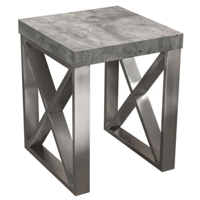 Diamond Sofa CARRERAETMA2 Carrera End Table in Faux Concrete Finish with Brushed Stainless Steel Legs