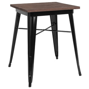 "Flash Furniture CH-31330-29M1-BK-GG 23.5"" Square Black Metal Indoor Table with Walnut Rustic Wood Top 889142462309"