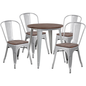 "26"" Round Metal Table Set with Wood Top and 4 Stack Chairs"
