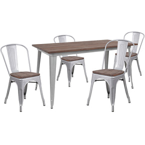 "Flash Furniture CH-WD-TBCH-13-GG 30.25"" x 60"" Silver Metal Table Set with Wood Top and 4 Stack Chairs 889142499886"