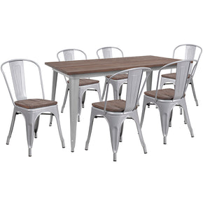"Flash Furniture CH-WD-TBCH-14-GG 30.25"" x 60"" Silver Metal Table Set with Wood Top and 6 Stack Chairs 889142499879"