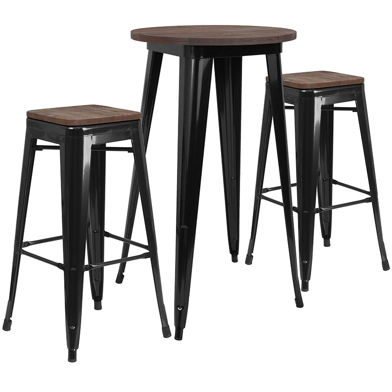Terrific Buy Flash Furniture Ch Wd Tbch 23 Gg 24 Round Metal Bar Table Set With Wood Top And 2 Backless Stools At Contemporary Furniture Warehouse Ibusinesslaw Wood Chair Design Ideas Ibusinesslaworg
