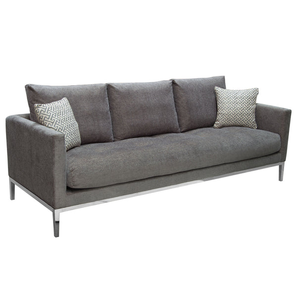 Merveilleux ... Chateau Loose Pillow Back Sofa In Azure Grey Fabric U0026 Polished ...