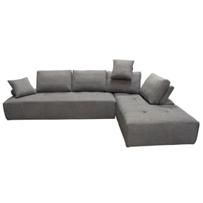 Diamond Sofa CLOUDLGBGR2PC Cloud 2PC Lounge Seating Platforms with Moveable Backrest Supports in Space Grey Fabric