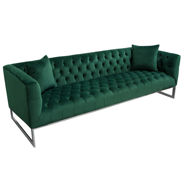 Crawford Tufted Sofa In Emerald Green Velvet W/ Polished Metal Leg U0026 Trim