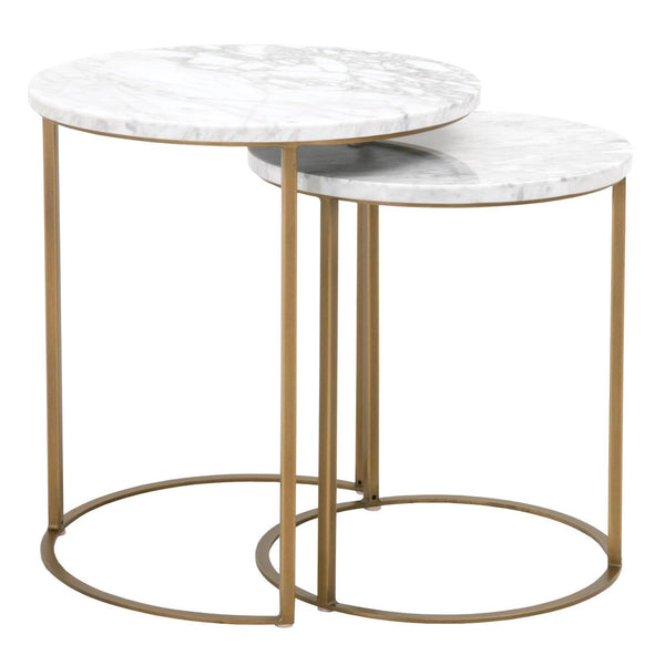 Orient Express Furniture 6105.BGLD/WHT Carrera Round Nesting Accent Table White Carrera Marble, Brushed Gold
