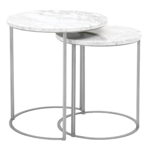 Orient Express Furniture 6105.BSTL/WHT Carrera Round Nesting Accent Table White Carrera Marble, Brushed Stainless Steel