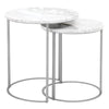 Carrera Round Nesting Accent Table White Carrera Marble, Brushed Stainless Steel