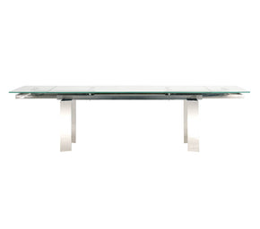 Star International Furniture E.2799XT1.SS Chrono Extension Dining Table Stainless Steel, Clear Glass