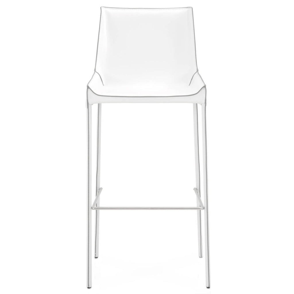 Star International Furniture 1620BS.WHT/GRY Conrad Barstool (Set of 2) White Bonded Leather, Grey Edge