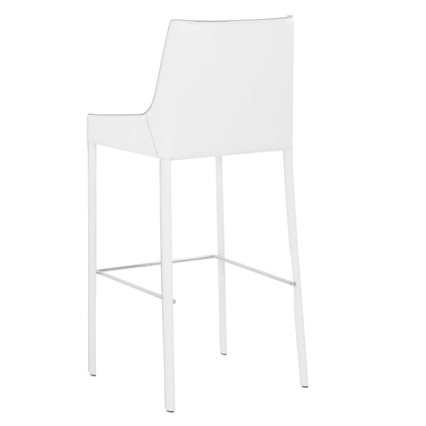 Conrad Barstool (Set of 2) White Bonded Leather, Grey Edge