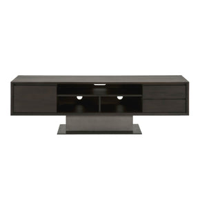 Star International Furniture 4605.SLA-GRY/ESP Cuba TV Unit Espresso, Slate Grey Concrete, Matte Black Metal | Acacia Veneer