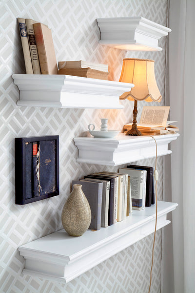 Nova Solo D165 Halifax Floating Wall Shelf, Long White semi-gloss