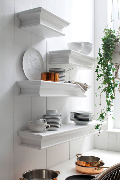 Halifax French Countryside Floating Wall Shelf, Long White Semi-gloss