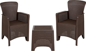 Flash Furniture DAD-SF3-2P-SET-CHOC-GG Chocolate Faux Rattan Plastic Chair Set with Matching Side Table 889142461487