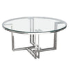 DEKO Polished Stainless Steel Round Cocktail Table w/ Clear, Tempered Glass Top