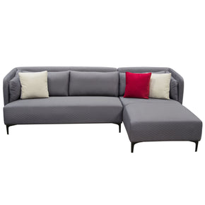 Charming Diamond Sofa DYLANRF2PCSECTGR Dylan RF 2PC Sectional In Grey Diamond  Quilted Fabric