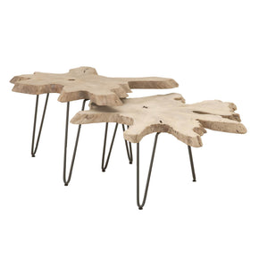 Coffee Tables - Orient Express Furniture 6826.GT Drift Nesting Live Edge Coffee Table Natural Grey Teak Root | 842279109479 | Only $599.00. Buy today at http://www.contemporaryfurniturewarehouse.com