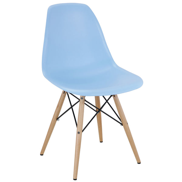Dining Chairs - Modway EEI-180-LBU Pyramid Mid-Century Modern Dining Side Chair Molded ABS Plastic | 848387023232 | Only $62.50. Buy today at http://www.contemporaryfurniturewarehouse.com