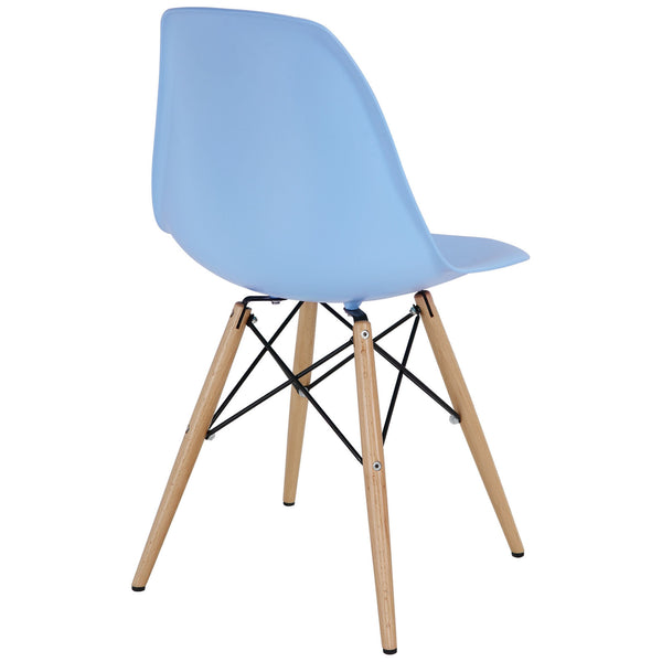 Wood Pyramid Side Chair Blue | Modern Dining Chair by Modway at Contemporary Modern Furniture  Warehouse - 3
