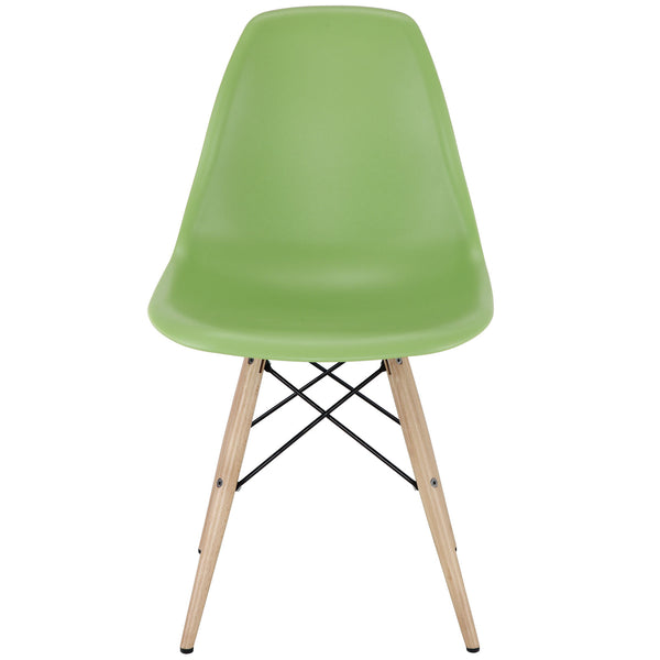 Wood Pyramid Side Chair Green | Modern Dining Chair by Modway at Contemporary Modern Furniture  Warehouse - 2