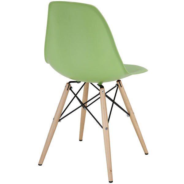 Wood Pyramid Side Chair Green | Modern Dining Chair by Modway at Contemporary Modern Furniture  Warehouse - 3