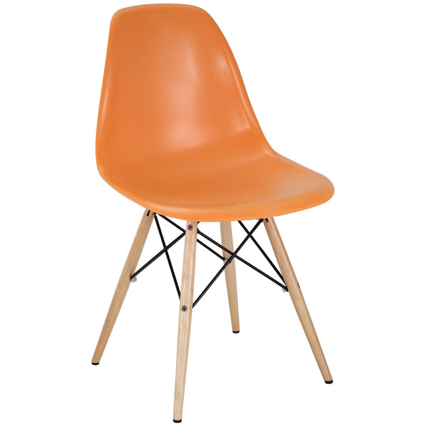 Dining Chairs - Modway EEI-180-ORA Pyramid Mid-Century Modern Dining Side Chair Molded ABS Plastic | 848387023256 | Only $62.50. Buy today at http://www.contemporaryfurniturewarehouse.com