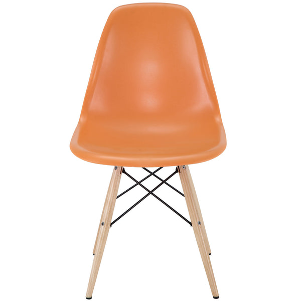 Wood Pyramid Side Chair Orange | Modern Dining Chair by Modway at Contemporary Modern Furniture  Warehouse - 2