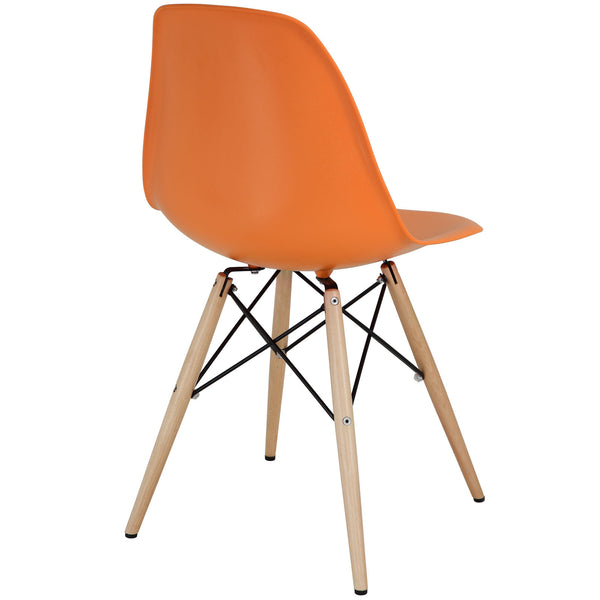 Wood Pyramid Side Chair Orange | Modern Dining Chair by Modway at Contemporary Modern Furniture  Warehouse - 3