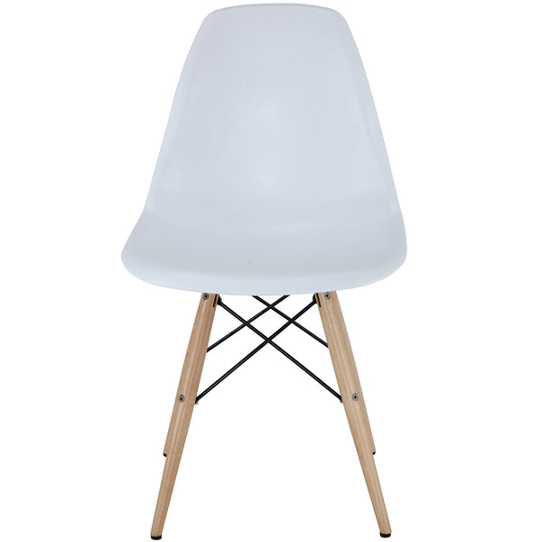 Wood Pyramid Side Chair White | Modern Dining Chair by Modway at Contemporary Modern Furniture  Warehouse - 2