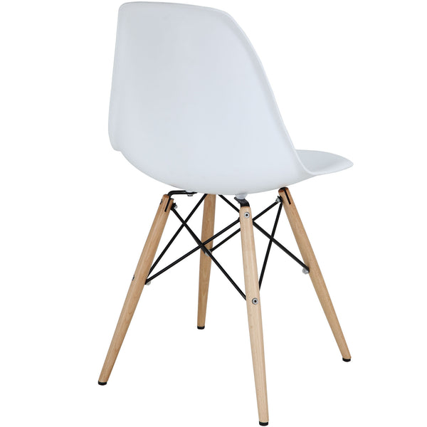 Wood Pyramid Side Chair White | Modern Dining Chair by Modway at Contemporary Modern Furniture  Warehouse - 3
