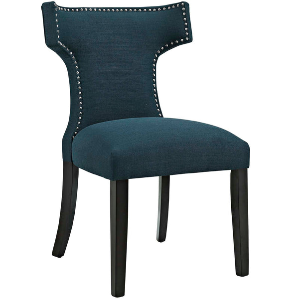 Dining Chairs - Modway EEI-2221-AZU Curve Fabric Dining Chair Studded Nailhead Trim | 889654065395 | Only $125.05. Buy today at http://www.contemporaryfurniturewarehouse.com