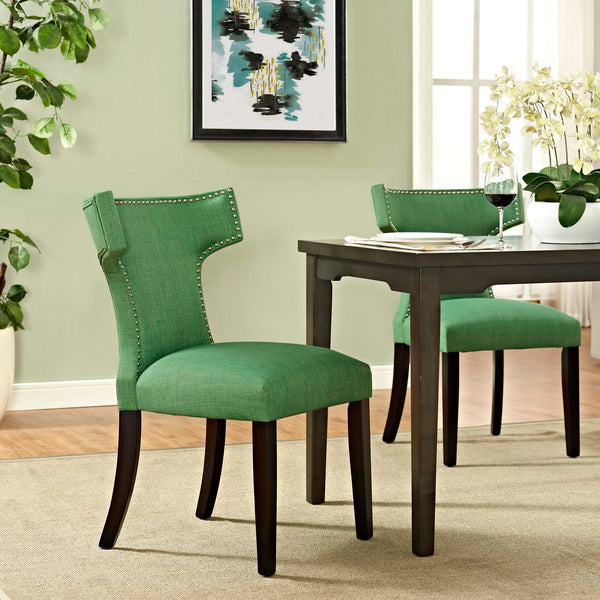 Dining Chairs - Modway EEI-2221-GRA Curve Fabric Dining Chair Studded Nailhead Trim | 889654065425 | Only $122.30. Buy today at http://www.contemporaryfurniturewarehouse.com